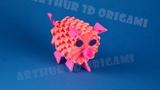 Оригами из модулей ПОРОСЕНОК (свинка, свинья)