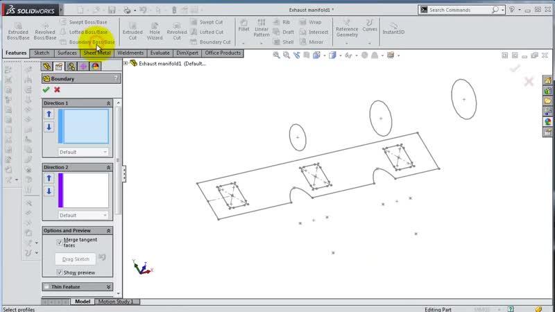 SolidWorks ʬ Tutorial 189car- Exhaust Manifold 1 2 (boundary boss)