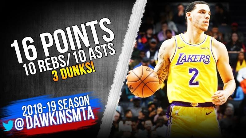 Lonzo Ball Triple-Double 2018.12.15 Lakers vs Hornets - 16 Pts, 10 Rebs, 10 Asts!   FreeDawkins