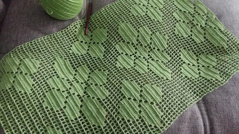 Филейное вязание прямоугольной салфетки крючком Часть 1