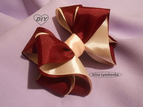 Бант из ленты 2,5см МК Bow of ribbon 2,5cm DIYPAP Laço da fita 2,5cm Tutorial 131