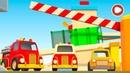 La carrera para coches de colores. Dibujos animados para niños.