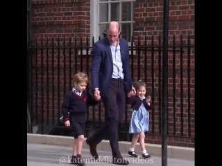 April 23, 2018 William brought George and Charlotte to meet their new baby brother Louis.