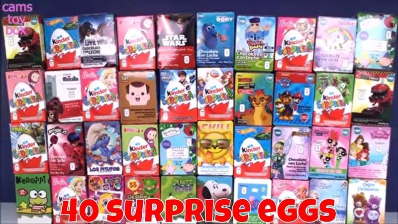 40 Chocolate Surprise Eggs Kinder Toys Opening Fun Peppa Pig Masha Bear Smurfs Sorpresa Paw Patrol