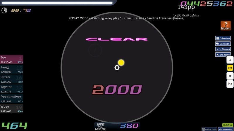 Osu! | Woey | Susumu Hirasawa - Bandiria Travellers [Insane] HD 99.67 FC 1 | 192pp if ranked