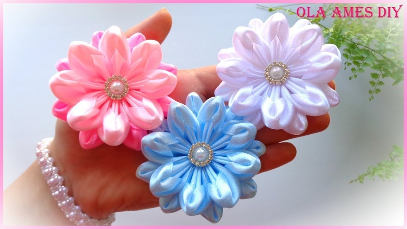 Цветы из атласной ленты/Канзаши/Ribbon Flower Tutorial/Kanzashi Flowers/Flores de fitas/Ola ameS DIY