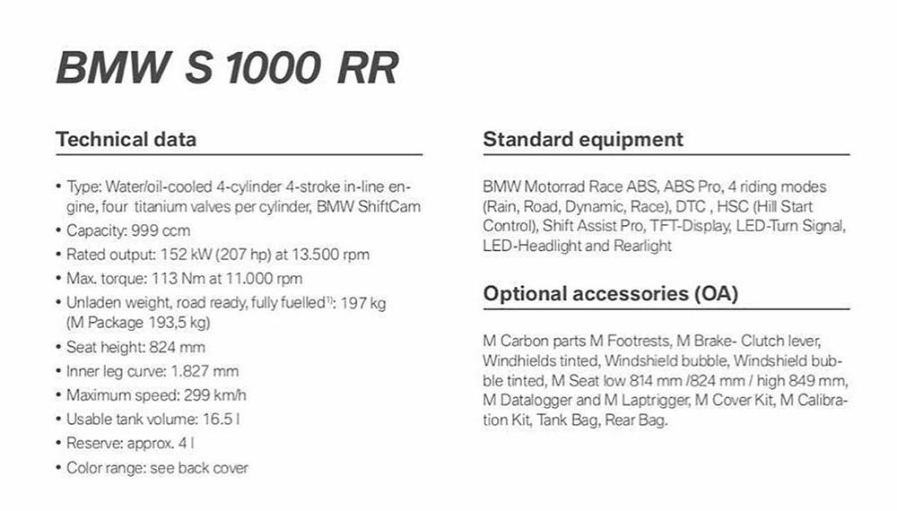 Каталожные фотографии BMW S1000RR 2019