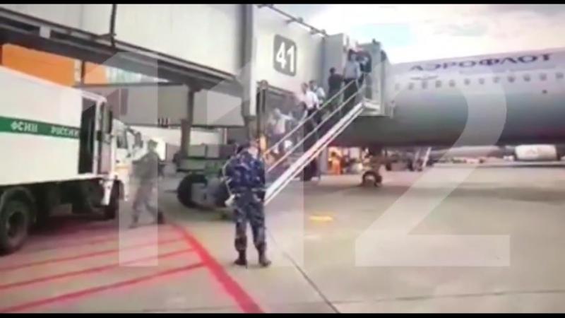 Видео: Киллера №1 Аслана Гагиева выводят из самолёта в столичном аэропорту Шереметьево.