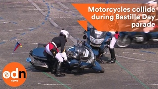 Police motorcyclists collide during Bastille Day parade