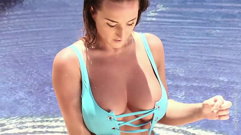 Stacey Poole blue swimsuit BTS big tits
