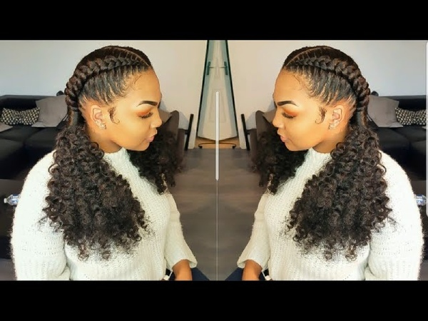 Cornrows - invisible crochet braids ponytail/ feed in braids