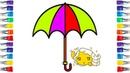 رسم شمسيه سهله للاطفال رسم وتلوين Draw Umbrella for Kids