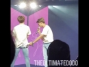 He playfully hitted him with his towel and jungkook just sticked his butt out while looking at joon on the screen