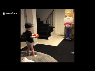 Two-year-old baller sinks every basket