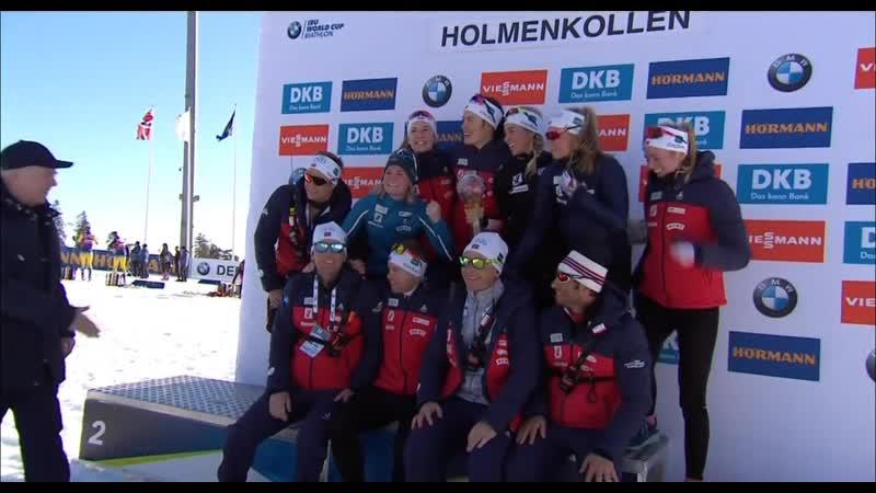 Женская сборная Норвегии - обладатель МХГ в зачете эстафет и Кубка наций