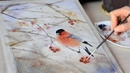 Картина акварелью Снегирь Watercolor process