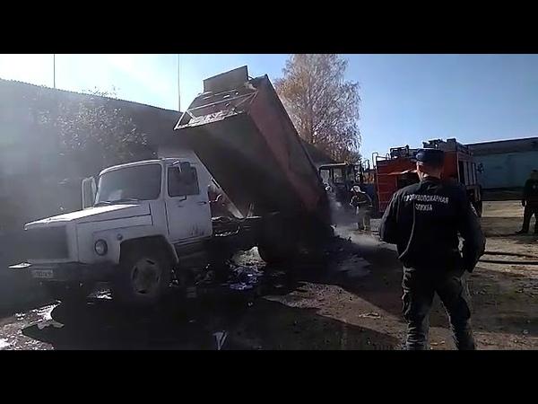 Курская область В Горшечном пожарные тушили мусоровоз