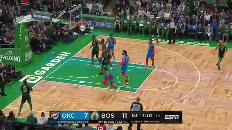 Horford hits Irving with the perfect feed and he drains the trey!