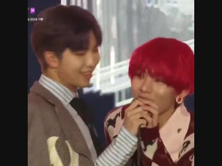 tae got shy and wanted to end his speech but joon encouraged him to say more and the look