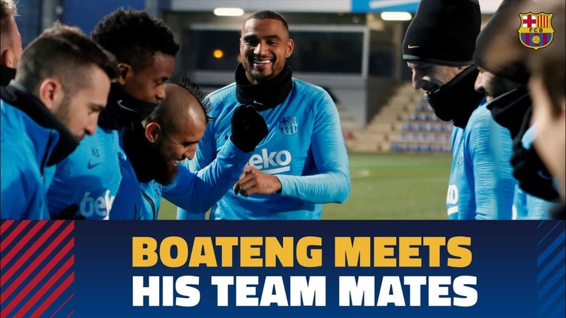 Kevin-Prince Boateng's first training session with Barça