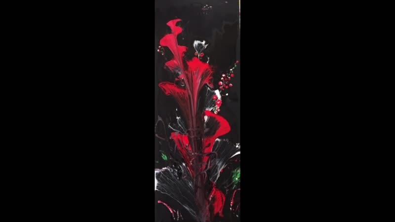 Рисуем Абстрактные цветы веревкой и цепью. Акрил. Painting the flowers with chain and string