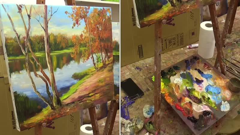 4 Октябрьский день. Мастер-класс на двух холстах. Oleg Buiko. Autumn. Master class on two canvases by Oleg Buiko