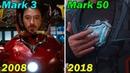 😎 Все ТРАНСФОРМАЦИИ костюмов Железного человека ✅ ВОСЕМЬ фильмов 2008 2018