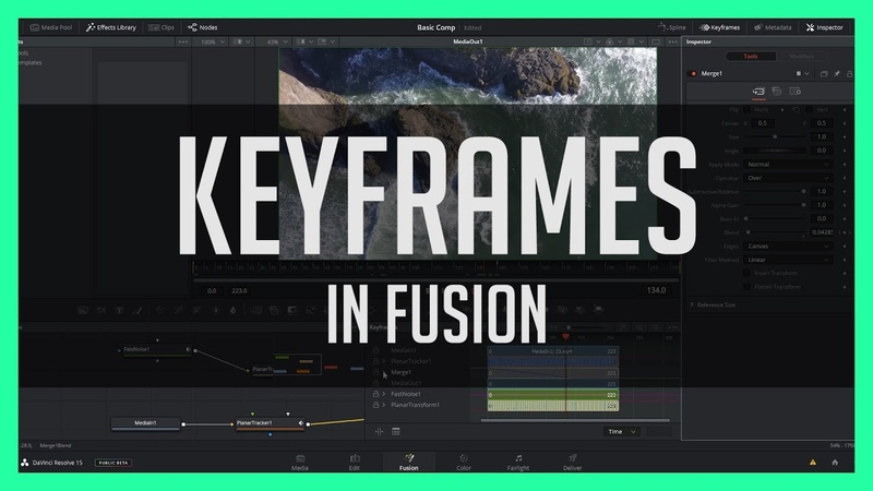 Animating With Keyframes in Fusion Resolve 15 Fusion Tab Tutorial