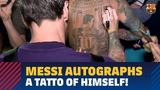 A special Messi autograph on a tattoo of his own image!