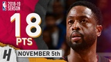 Dwyane Wade Full Highlights Heat vs Pistons 2018.11.05 - 18 Pts, 2 Ast!