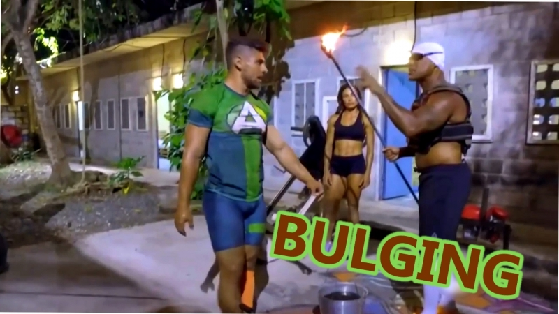 Sexy guy bulging in reality TV