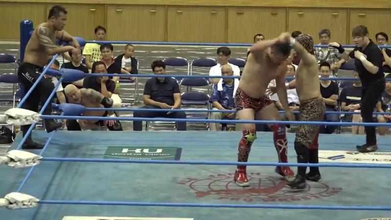 Zeus, The Bodyguard, Mushuku No Akatora vs. Ryoji Sai, Dylan James, Koji Iwamoto (AJPW - Summer Action Series 2018 - Day 9)