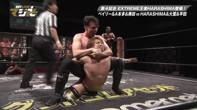 Mike Bailey Antonio Honda Keisuke Okuda vs HARASHIMA Toru Owashi Kazuki Hirata DDT Live Maji Manji 19
