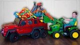 Tema play and Clean up toys with Power Wheels cars Tractor