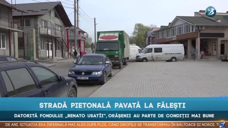 """STRADĂ PIETONALĂ PAVATĂ LA FĂLEȘTI DATORITĂ FONDULUI """"RENATO USATÎI"""", ORĂȘENII AU PARTE DE CONDIȚII MAI BUNE"""