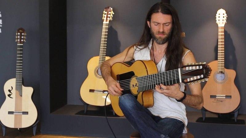 Estas Tonne plays his new guitar at MR factory