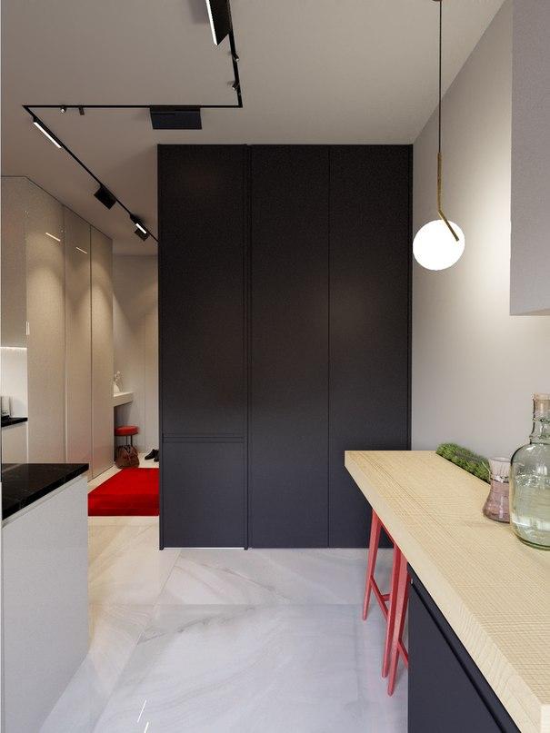 Проект интерьера квартиры-студии около 26 кв.