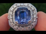 GIA Certified UNHEATED VVS Natural Blue Sapphire Diamond PLATINUM Engagement Ring - C331