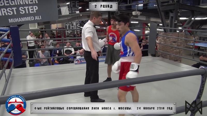 4-е рейтинговые бои Лига бокса г. Москвы – 24.11.18 г. до 69 кг.