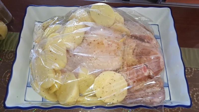Κοτόπουλο με πατάτες στην σακούλα διατροφής