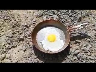 Житель Казахстана приготовил яичницу на раскаленной земле - 5.07.2018