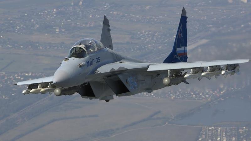 Видео взлета новейшего многофункционального истребителя МиГ-35 в режиме форсажа