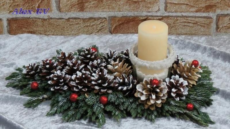 Dekoration für Weihnachten selber basteln . Adventsgesteck selbst machen . Einfach .