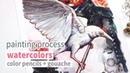 WATERCOLOR, COLOR PENCILS GOUACHE PAINTING PROCESS: Nevermore