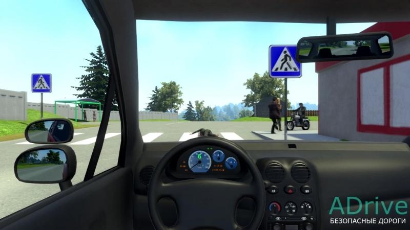Опасный обгон и наезд на пешехода (Симулятор вождения ADrive)