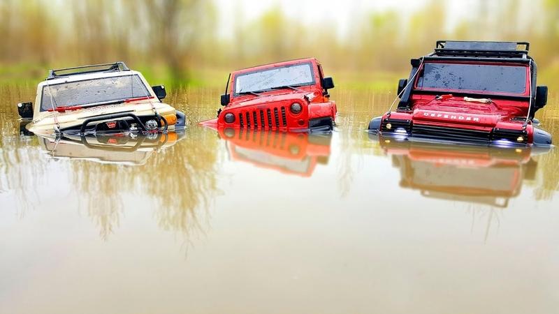RC Trucks OFF Road Water and Stones - Traxxas TRX4 vs MST CFX – Rubicon vs HPI Venture FJ Cruiser