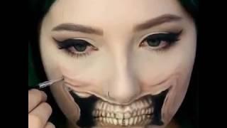 Очень крутой боди-арт на лице от девушки (лучшие приколы девушки, интересно)