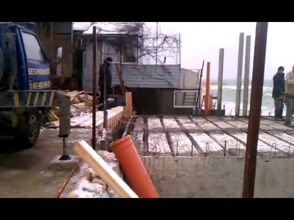 Стролительство причала. Термомонолит. 02.2013г. Одесса. Заливка бетоном перекрытия 2 этажа