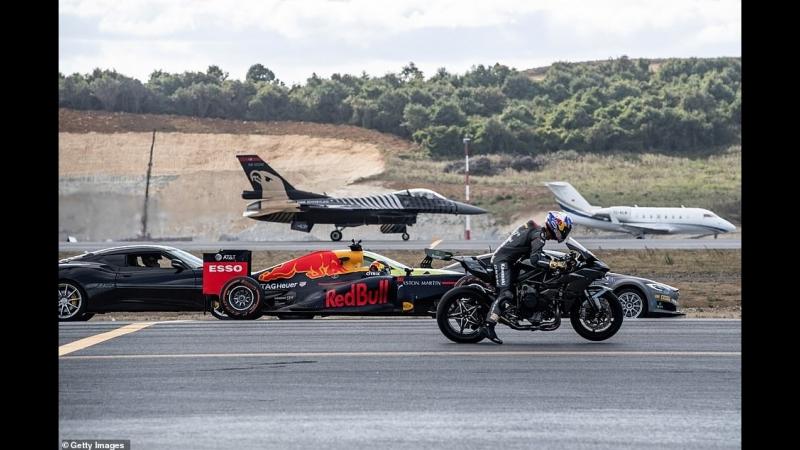 Kawasaki H2R vs F 16 Vs Tesla P100DL vs Challanger 605 vs Lotus Evora 430 GT drag racing дрэг рейсинг