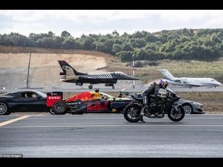 Kawasaki H2R vs F-16 Vs Tesla P100DL vs Challanger 605 vs Lotus Evora 430 GT, drag racing, дрэг-рейсинг